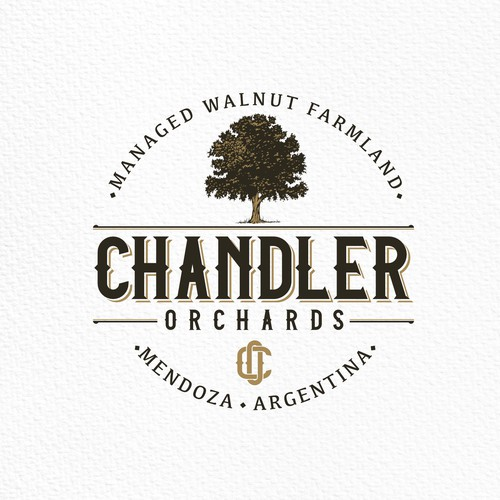 Investment logo with the title 'Logo design for Chandler Orchards.'