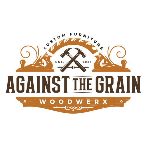 Woodworking design with the title 'Against the Grain'