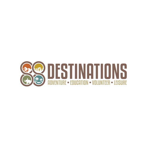 Travel agency design with the title '88 Destionation'