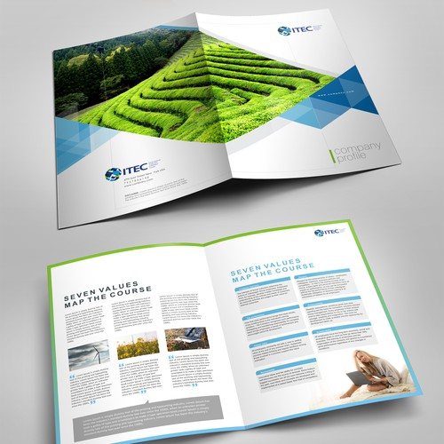 B2B design with the title 'Desing and International Brochure to attact Countries'