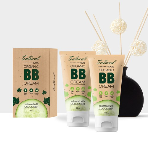 Cosmetics packaging with the title 'Teatrical BB Cream'