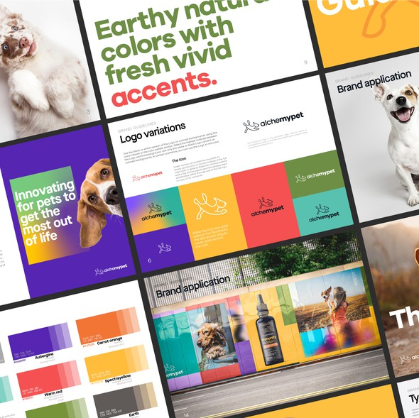 Earthy design with the title 'Alchemypet Brand Manual'