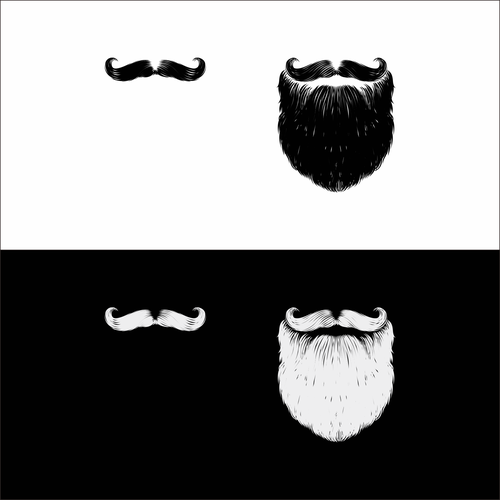 CorelDRAW illustration with the title 'Mustache, Beard, and Goatee Images'