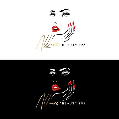 Beauty salon logo with the title 'Allure Beauty Spa_Logo sleek, modern & sexy'