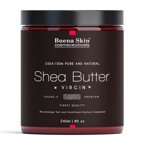 Butter design with the title 'Elegantnt label for Shea butter.'