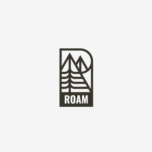 Tree and mountain logo with the title 'Roam'