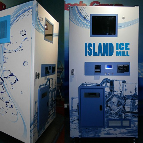 Vending machine design with the title 'Vinyl wrap for a ice vending machine (applied)'