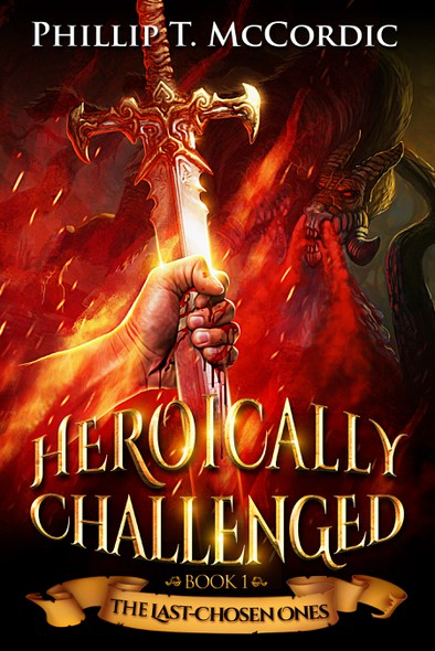 Monster book cover with the title 'Heroically Challenged'