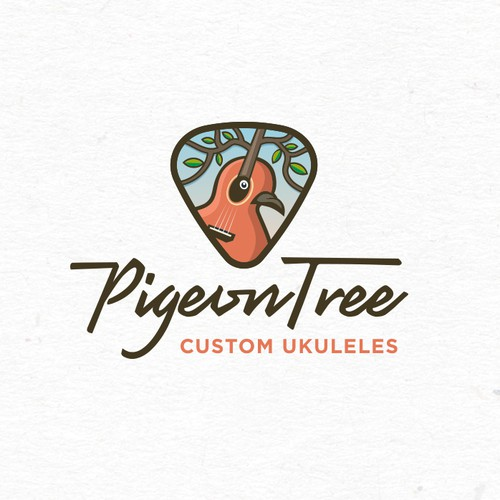 Pigeon design with the title 'Strong creative approach for the PigeonTree custom guitars & ukuleles'