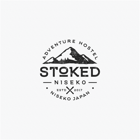Hostel logo with the title 'Stoked Niseko'
