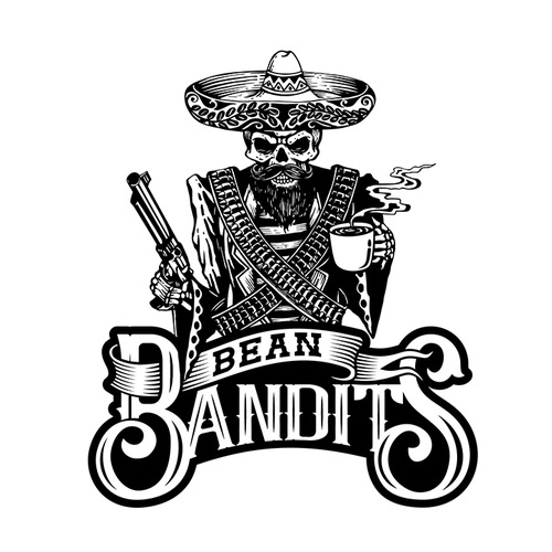 Mexican restaurant logo with the title 'Cartel, Outlaws, Gangsters Coffee Company!'