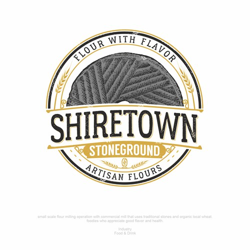 Mill design with the title 'Shiretown Stoneground Artisanal Flours'