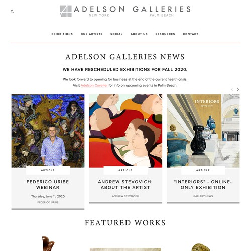 Contemporary website with the title 'Adelson Galleries Design'
