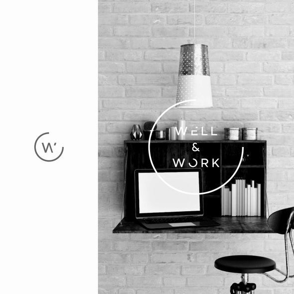 Mid-century modern logo with the title 'W&W Co-Working Space'