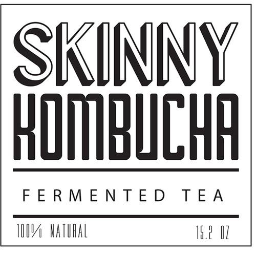 Beverage label with the title 'Skinny Kombucha'