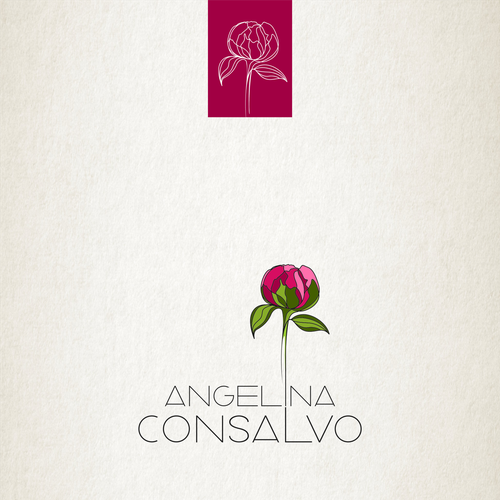 Peony design with the title 'AngelinaConsalvo Logo Design'