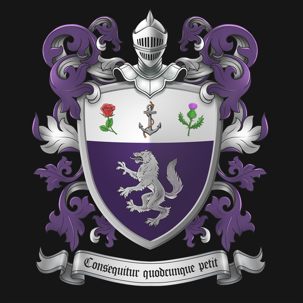 Coat of arms artwork with the title 'FAMILY CREST DESIGN'