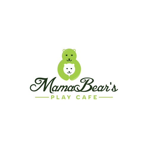Mother and child logo with the title 'Mama Bear's Play Cafe Logo'