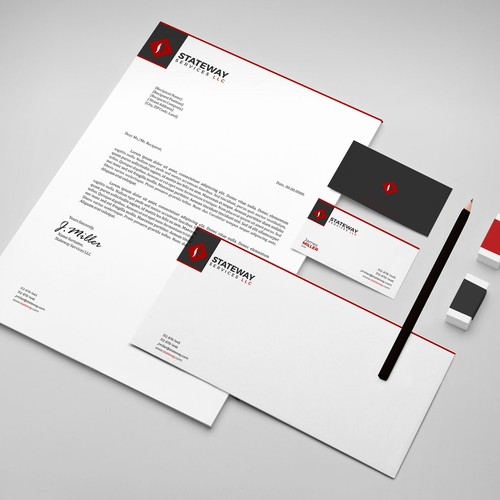 Letterhead design with the title 'Create a MINIMALIST brand identity for a real estate company - logo, card, letterhead, & envelope'