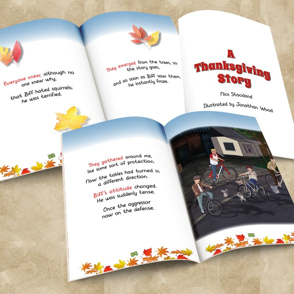 Thanksgiving design with the title 'Children's Book - A Thanksgiving Story'