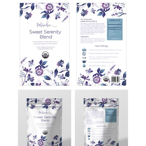Pouch label with the title 'Ambrocha - Organic Tea Stand-up Pouch'