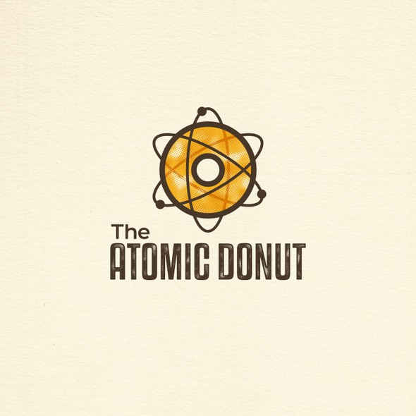 Atomic logo with the title 'Donut Logo Design'