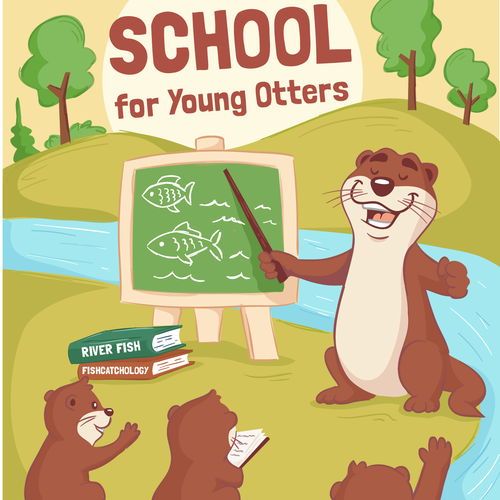 Cartoon artwork with the title 'River School Book Cover'