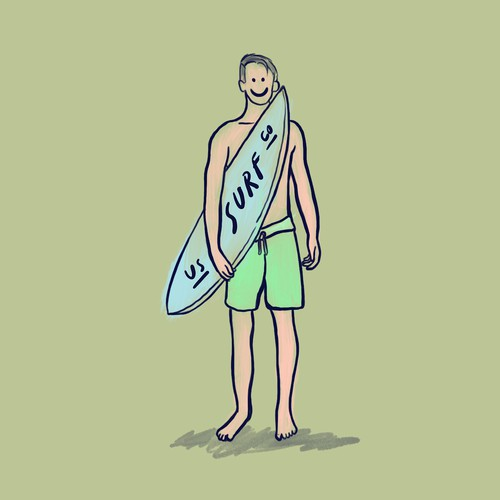 Surf design with the title 'surfer'