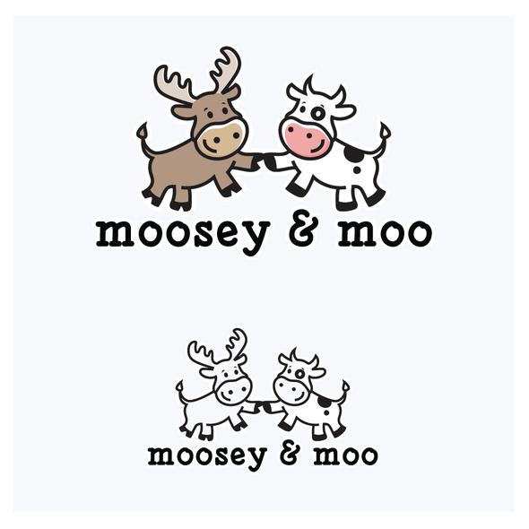 Moose logo with the title 'Moosey & Moo Logo'