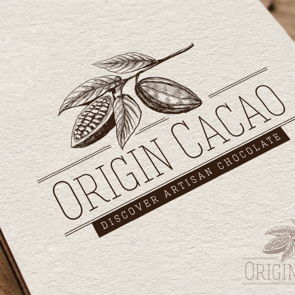 Chocolate design with the title 'Create the next logo for Origin Cacao'