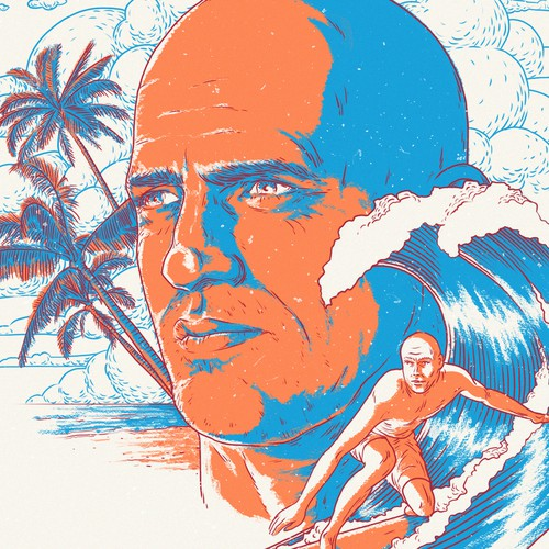 Sea artwork with the title 'Portrait of Kelly Slater'