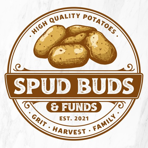 Potato design with the title 'Spud Buds & Funds'