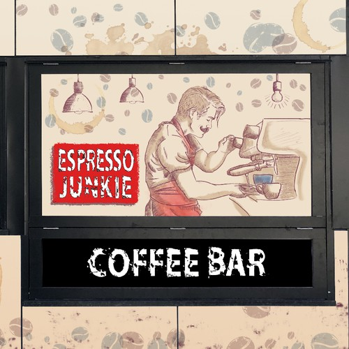 Barista design with the title 'Vinyl design for coffee kiosk (Entry)'