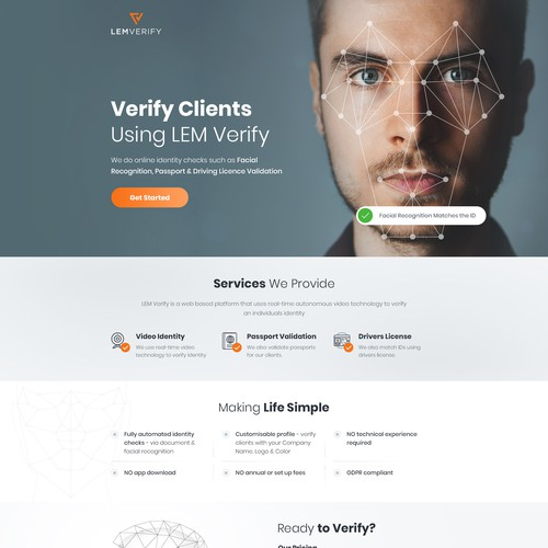 Futuristic website with the title 'LEM Verify Home Page Concept'