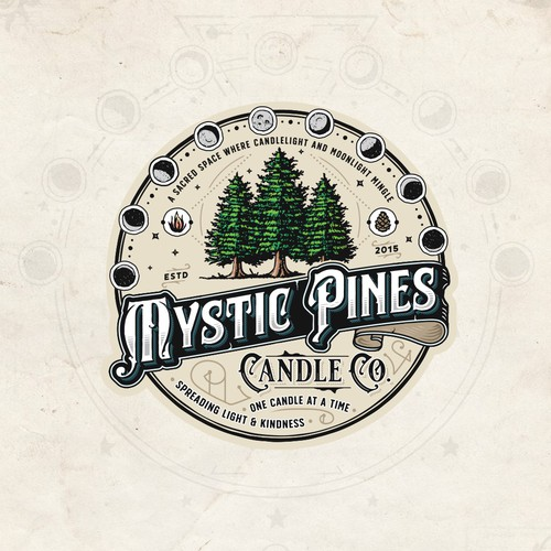 Label logo with the title 'Mystic Pines Candle Co.'
