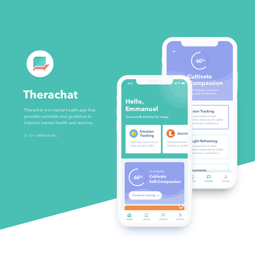 Mental health design with the title 'Therachat Mobile App '