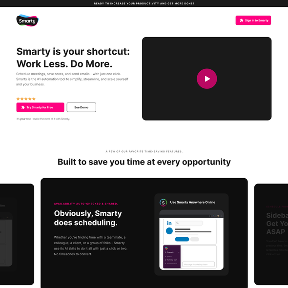 Chrome design with the title 'Landing page for smarty.ai'