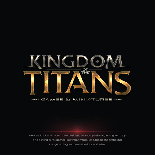 Medieval design with the title 'Kingdom of the Titans Games & Miniatures Logo'