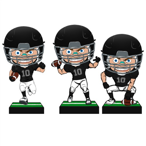 Player design with the title 'Bobblehead football player'