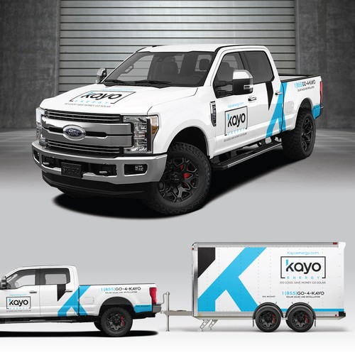 Solar energy design with the title 'Kayo Energy Truck/Trailer Wrap'