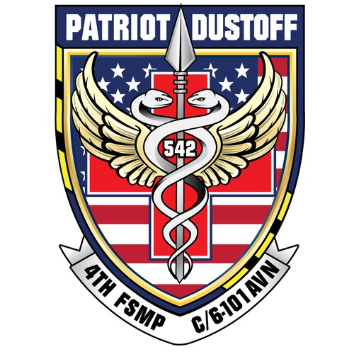 Army logo with the title 'Logo for a US Army Medical Evac Unit'