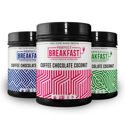 Geometric packaging with the title 'Perfect Breakfast'