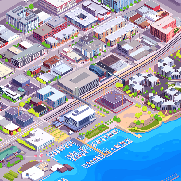 Isometric illustration with the title 'Isometric City'