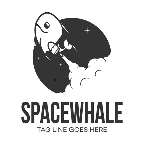 Spaceship logo with the title '1 color logo design'