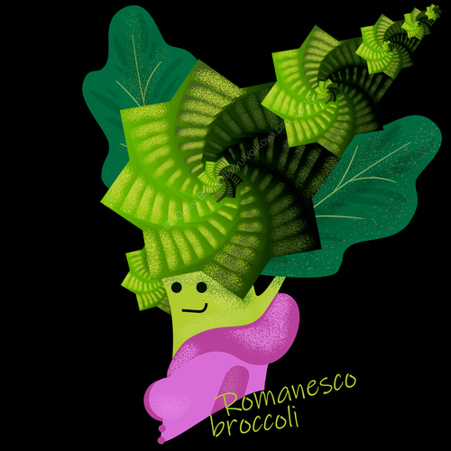 Funny character illustration with the title 'Romanesco broccoli fractals funny print'