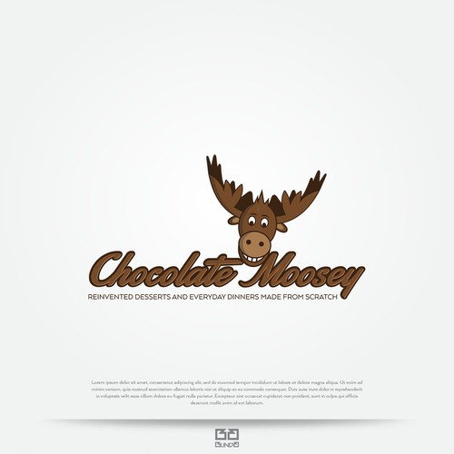 Chocolate logo with the title 'Funny moose logo.'