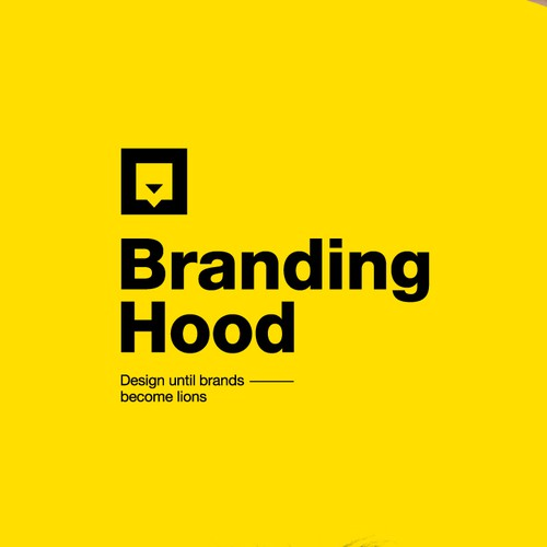 Yellow and black design with the title 'logo concept for communication design company'