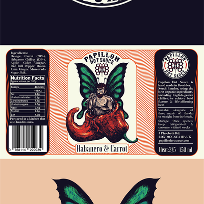 Papillon Hot Sauce Label and Logo Design