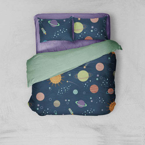 Spaceship artwork with the title 'Space pattern for bedding'