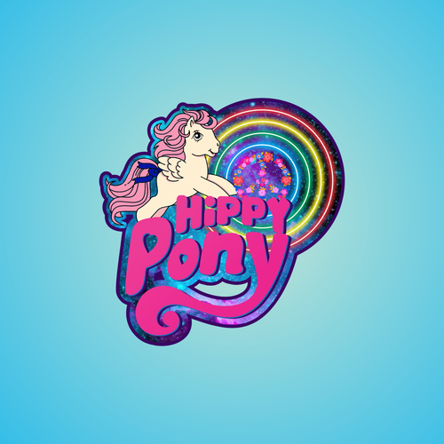 Pony design with the title 'cartoon character logo for hippy pony'